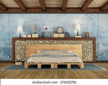 Pellet bed in a rustic bedroom with stone wall and wooden ceiling - 3D Rendering