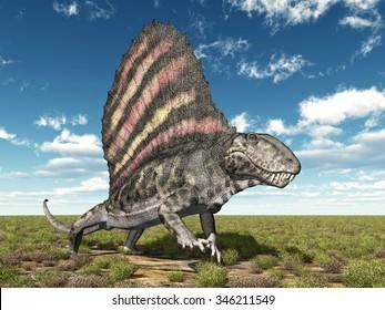 Pelycosaur Dimetrodon Computer generated 3D illustration