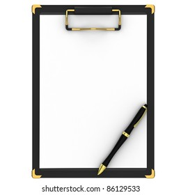 Pen, clipboard and a white paper isolated on white background.