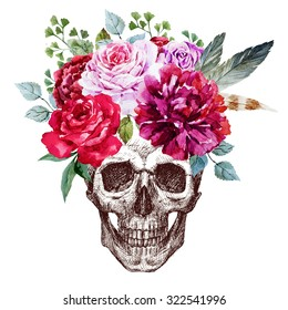 pen drawing human skull with floral wreath, flowers, peony, rose, feathers