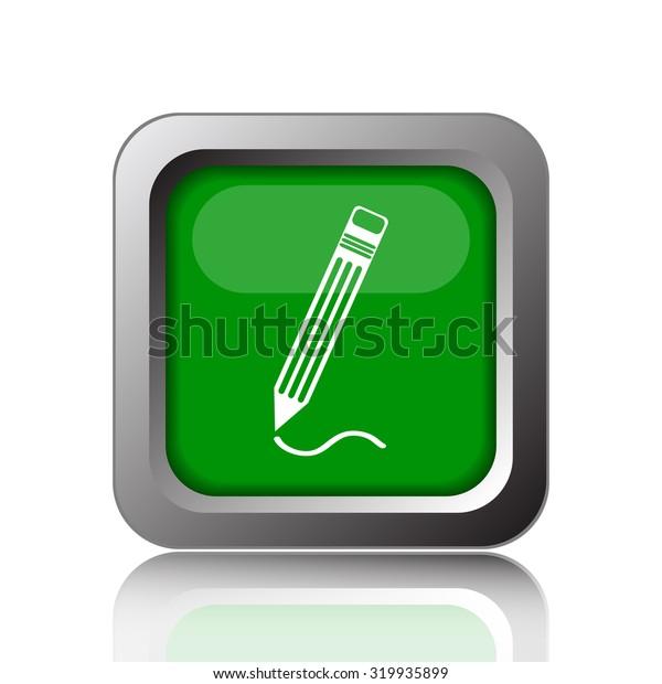 Pen icon. Internet button on white background.