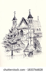 Pen illustration of Church of Holy Apostles Peter and Paul in Minsk, Belarus. Eastern European cathedral sketch drawing. Use for card, decoration, travel banner, print. Historical landmark artwork.