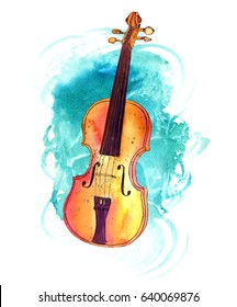 A pen and ink drawing of a vintage violin with a teal watercolor stain, a decorative element for a concert invitation
