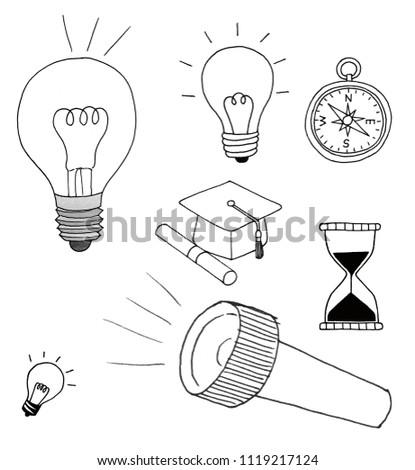 Pen Line Light Bulb Compass Graduation Stock Illustration 1119217124
