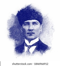 Pen sketch illustration of the Ataturk or Mustafa Kemal.