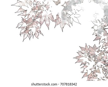 Pen Sketching; Red Momiji Maple Leaves at the World Heritage Forest Kumano Kodo, Wakayama Prefecture, Japan