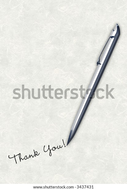 Pen writing / handwriting thank you message on antique textured paper