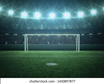 Penalty Area, Soccer, Football, Green Grass Stadium, Spotlight, Sport Background, 3D Rendering