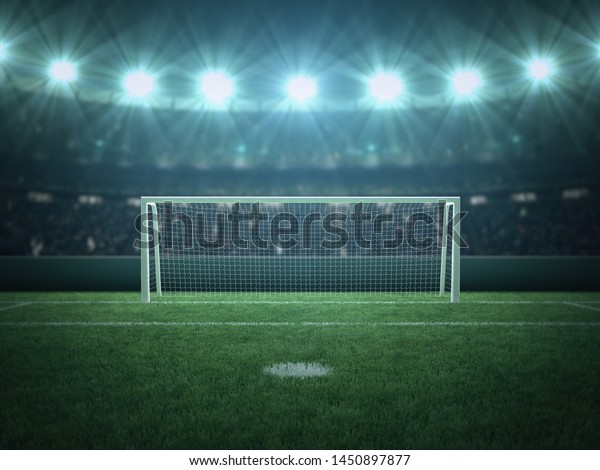 Penalty Area, Soccer, Football, Green Grass Stadium, Spotlight, Sport Background, 3D Rendering