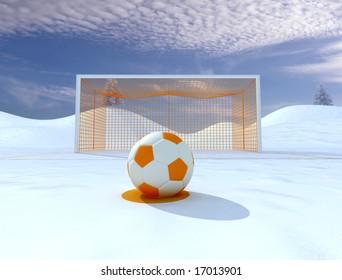 penalty on winter soccer field - digital artwork