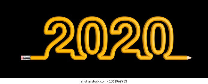 Pencil 2020 education concept / 3D illustration of yellow wooden pencil forming year 2020 text