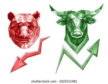 Pencil drawing of bear and bull trade/ Polygonal style illustration