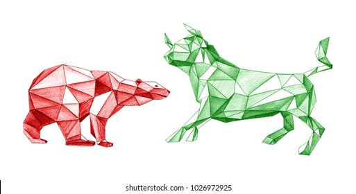 Pencil drawing of bear and bull trade. Polygonal style illustration