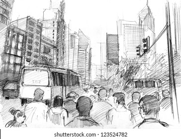 Pencil drawing of a big modern city with skyscrapers and plenty of people