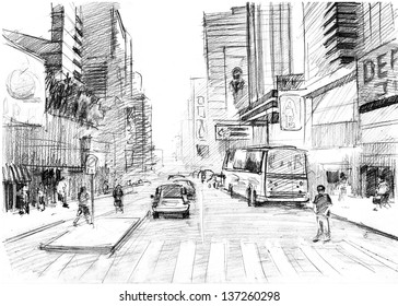 Pencil drawing of  a big modern city in New York-style with skyscrapers and pedestrian