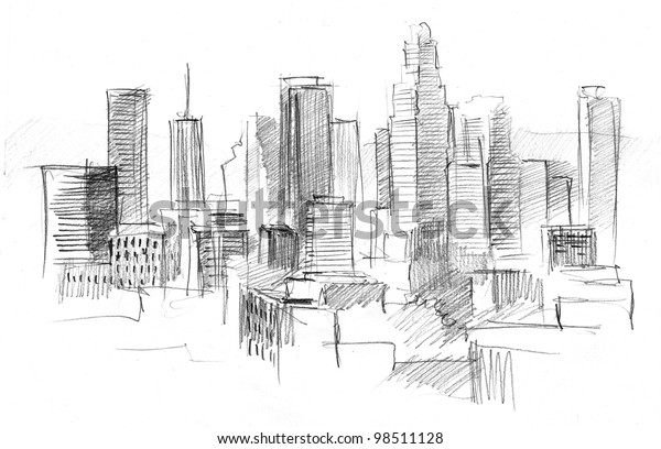 Pencil Drawing Big Modern City Skyscrapers Stock