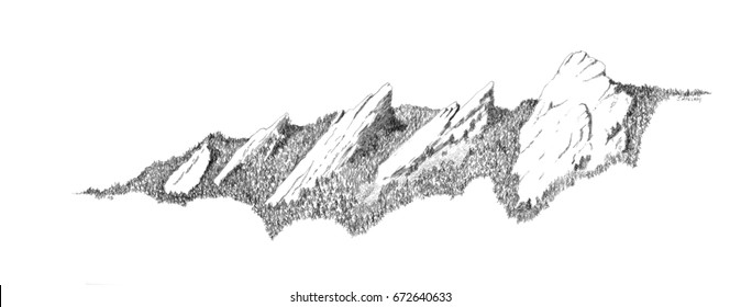 A pencil drawing of the Boulder flatirons in Colorado.