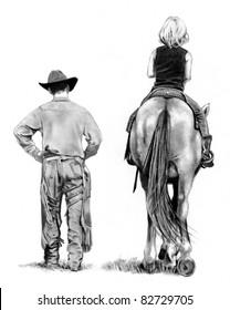 Pencil Drawing: Cowboy And Young Horse Rider