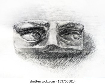 Pencil drawing of David's eyes. Art student learning the disciple, class work, training.