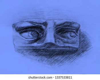 Pencil drawing of David's eyes on blue background. Art student learning the disciple, class work, training.