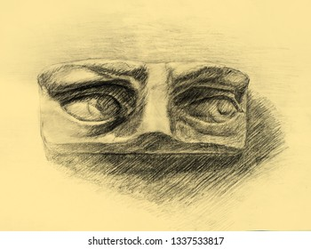Pencil drawing of David's eyes on yellow - orange paper. Art student learning the disciple, class work, training.