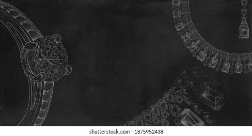 Pencil drawing of diamond ring and a necklace with precious stones on a black background. White background with hand painted diamond rings.Textural background for creativity.