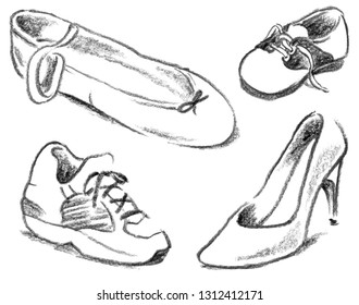 Pencil drawing of different shoes