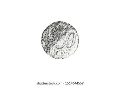 Pencil drawing fifty euro cent coin on white paper