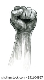 pencil drawing fist hand gesture