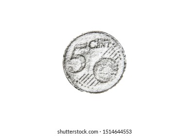 Pencil drawing five euro cent coin on white background