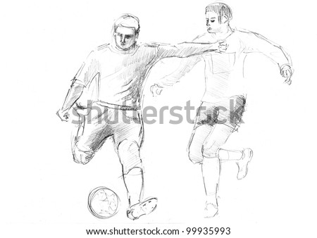 Pencil Drawing Football Match Players Ball Stock Illustration