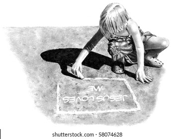 """Pencil Drawing of Girl Writing """"Jesus Loves Me"""" on Pavement"""