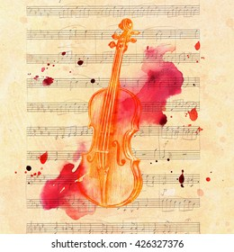 A pencil drawing of a golden colored vintage violin on a piece of aged sheet music, with grunge watercolor splashes