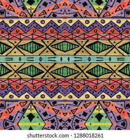 pencil drawing handmade raster seamless ethnic pattern