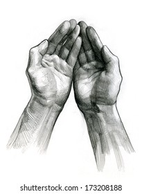 pencil drawing of hands open