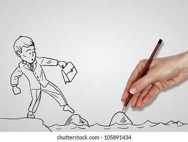 Pencil drawing as illustraion of risks and challenges inbusiness