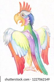 Pencil drawing. Illustration for children. Image of animals with colored pencils. Bright pompous parrot, flapping his wings.