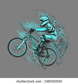 Pencil drawing illustration of a cyclist on a downhill bike  on gray background