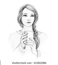 Pencil drawing illustration with woman with cup of tea on white background