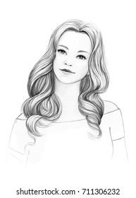 Pencil drawing illustration with woman on white background