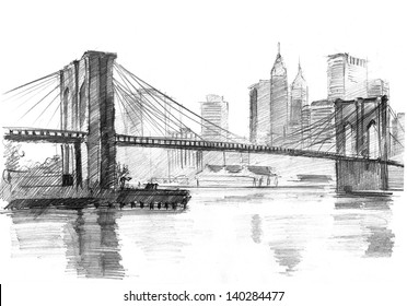 Pencil drawing of a landscape with set of skyscrapers and Brooklyn bridge in New York