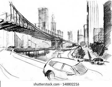 Pencil drawing of a landscape with set of skyscrapers, cars and Brooklyn bridge in New York