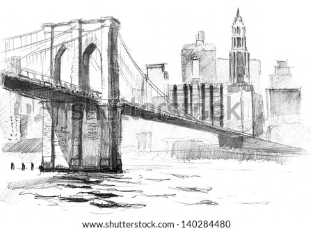 pencil drawing landscape set skyscrapers brooklyn stock illustration