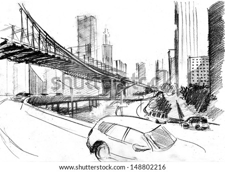 pencil drawing landscape set skyscrapers cars stock illustration