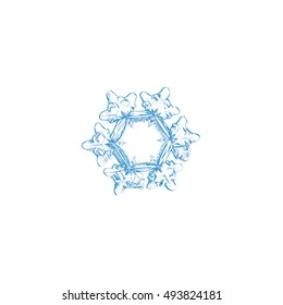 Pencil drawing: light blue snowflake on white background. This sketch based on macro photo of real snow crystal: with big, flat hexagonal center and short, broad arms.
