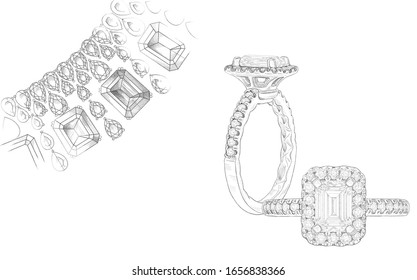 Pencil drawing of a necklace and a ring with precious stones on a white background. Isolated sketch. White background with hand painted diamond rings. Texture background for creativity and advertising