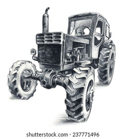 Pencil drawing of old Belarus tractor