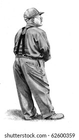 Pencil Drawing of Old Farmer Standing
