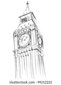 Pencil drawing of the Palace of Westminster or Houses of Parliament or Clock Tower