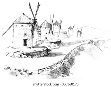 Pencil drawing of province mills in Spain
